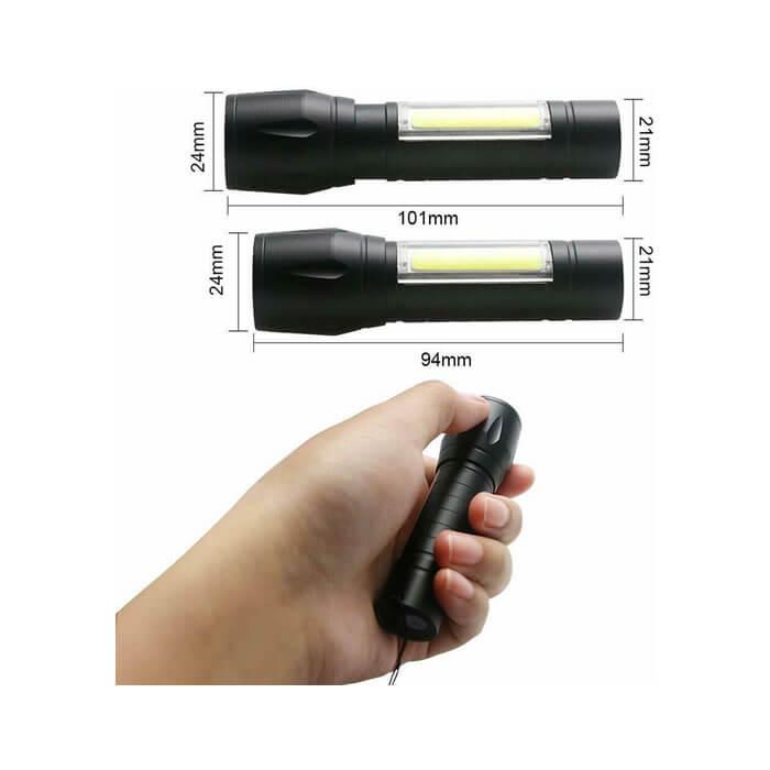 Mini Torcia Tascabile Zoom Luce Led Cree XM-L T6 Potentissima Ricaricabile USB
